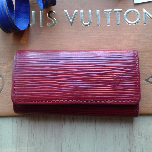 Louis Vuitton RED EPI leather case key ring Holder